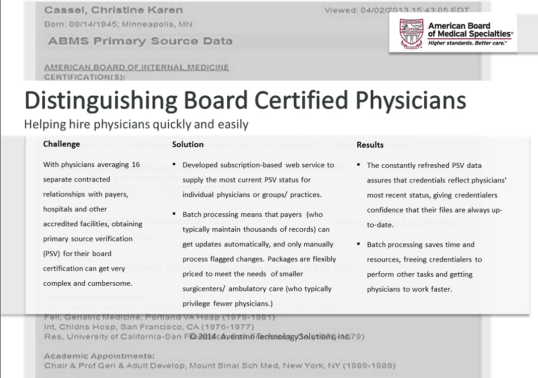 Case Study for Board Certified Physicians